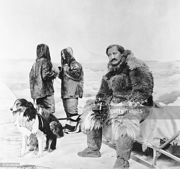 A production still from 'The Truth About the North Pole' a 1911 short silent film made in Chicago starring American explorer Frederick Cook and...