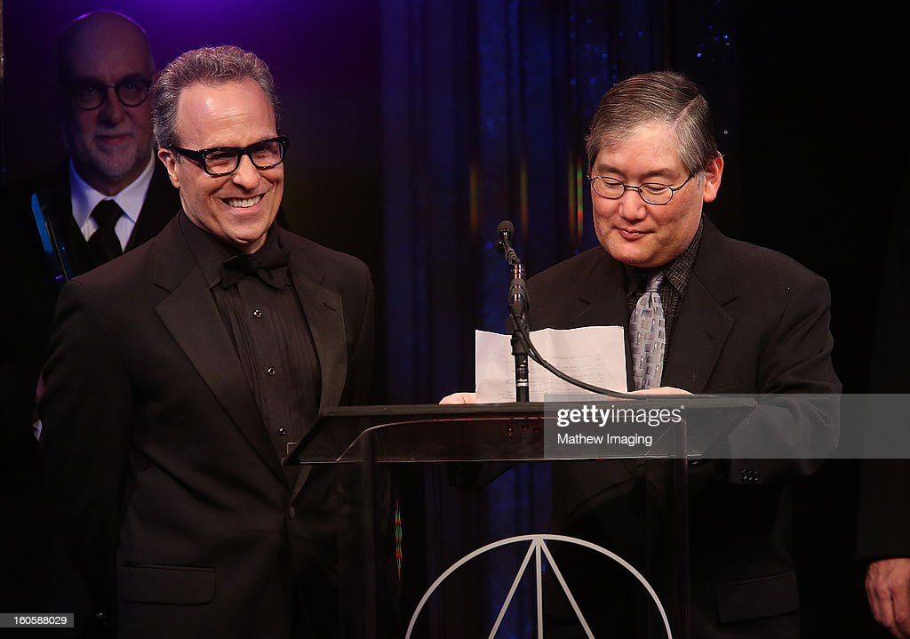 Production team members of the Star Trek Franchise Doug Drexler and Michael Okuda accept the Lifetime Achievement Award on behalf of Herman Zimmerman at The 17th Annual Art Directors Guild Awards, held at the Beverly Hilton Hotel on February 2, 2013 in Beverly Hills, California.