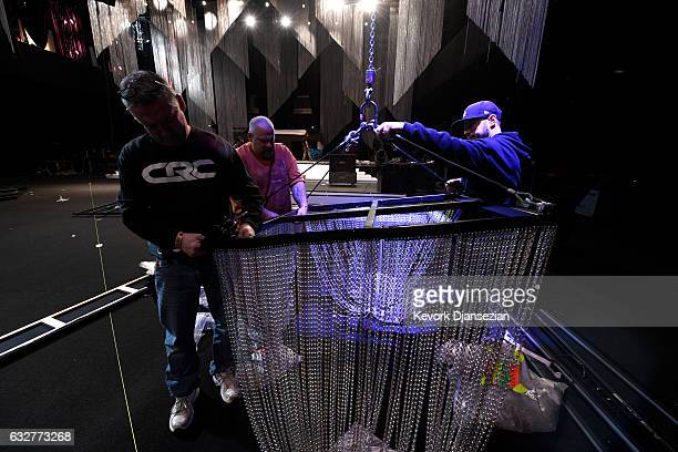 Production workers set up at the SAGAFTRA Auction Display and The 23rd Annual Screen Actors Guild Awards behind the scenes event on January 26 2017...