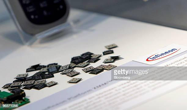 Products are displayed at the headquarters of Infineon Technologies AG in Munich Germany on Thursday Feb 11 2010 Infineon Chief Executive Officer...