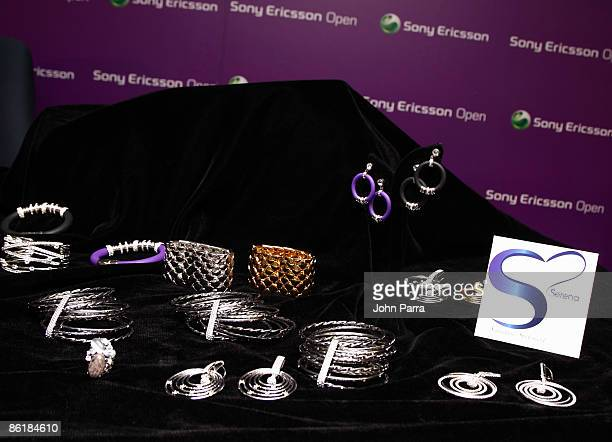 Products are displayed during the unveiling of Signature Statement exclusive fashion and accessories collection for HSN by Serena Williams at the...
