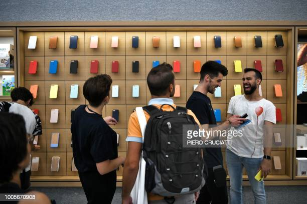 Products are on display on the opening day of the new Apple Store Liberty the first Italian flagship store of Apple in Milan on July 26 2018
