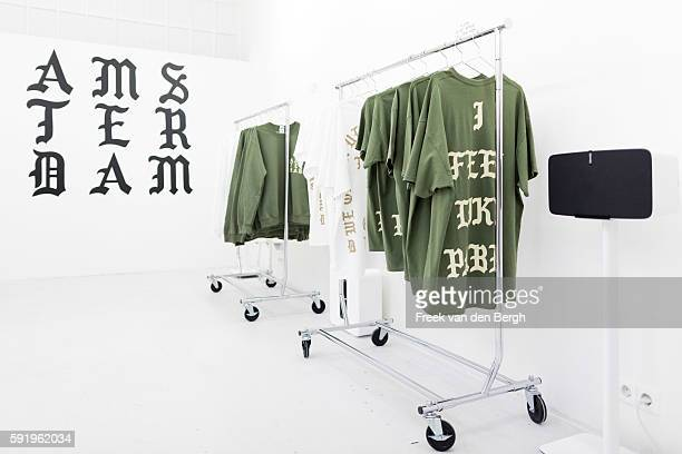Products at the Kanye West temporary PABLO store at the Rozengracht on August 19, 2016 in Amsterdam, the Netherlands.