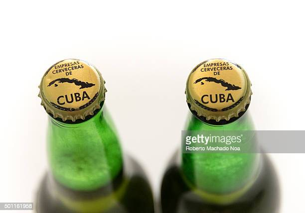 Products de Cuba Branding on lids of Bruja beer bottles with the words empresas cerveceras de cuba and a map of Cuba Cuba is famous for its beverages...