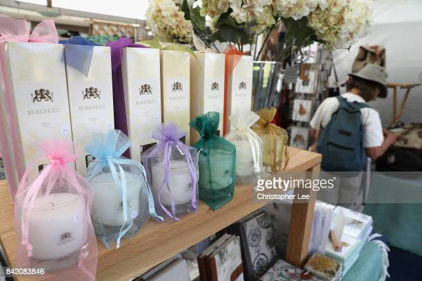 Products for sale on the Burghley stand during Day Three of The Land Rover Burghley Horse Trials 2017 on September 2 2017 in Stamford England