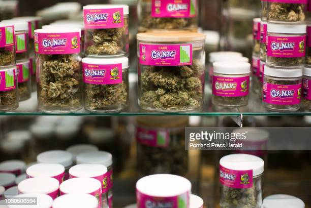 Products in a display case at Ganja Candy Factory in Portland on Thursday