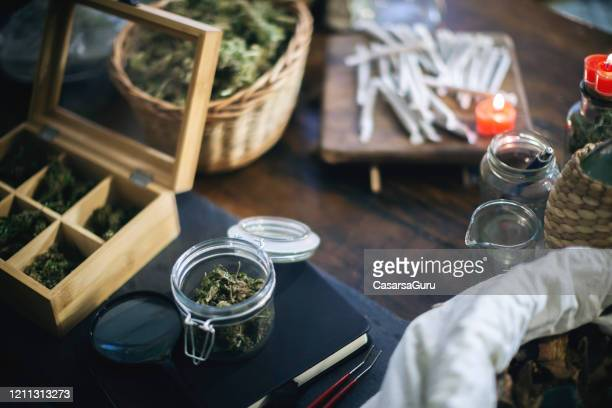 products in cannabis store - stock photo - cannabis store stock pictures, royalty-free photos & images