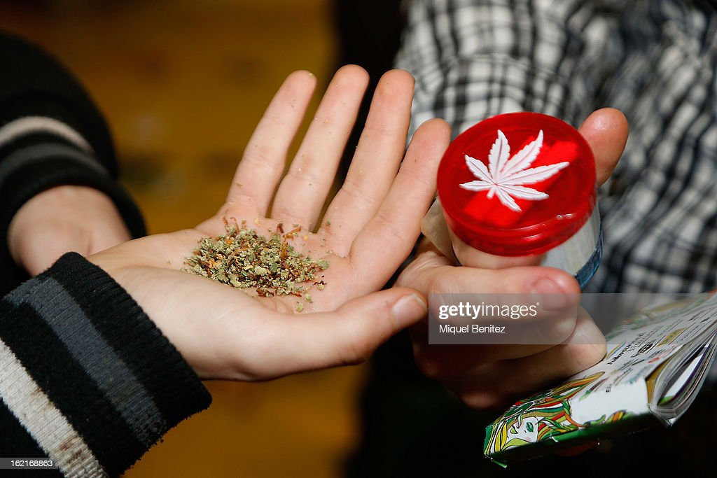 Products on display at the Spannabis 2013 convention on hemp and marijuana products at the Feria de Cornella on February 16, 2013 in Barcelona, Spain.