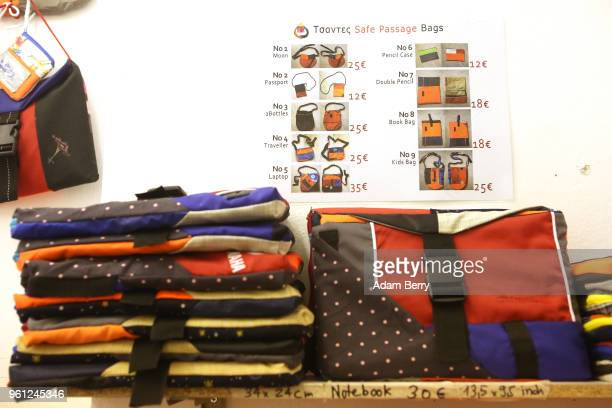 Products sewn from life preservers are ready for sale in the Lesvos Solidarity organization's Safe Passage Bags workshop in the refugee aid operation...