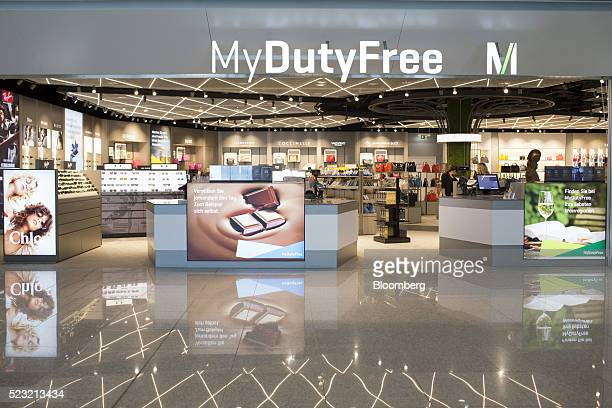 Products sit on display at a Duty Free store at Munich Airport's Terminal 2 during the official opening ceremony in Munich Germany on Friday April 22...