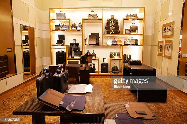 a4ab5aa8db46 Products sit on display at the Louis Vuitton maison flagship store a unit  of LVMH Moet