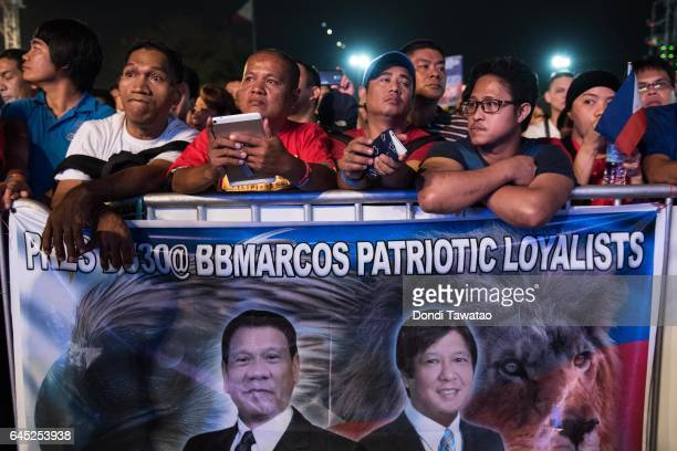 ProDuterte supporters cheer during a vigil rally which also coincided with the 31st anniversary of the People Power revolution on February 25 2017 in...