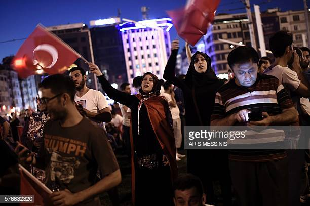 ProErdogan supporters gather at Taksim square in Istanbul to support the government on July16 following a failed coup attempt Turkish authorities...