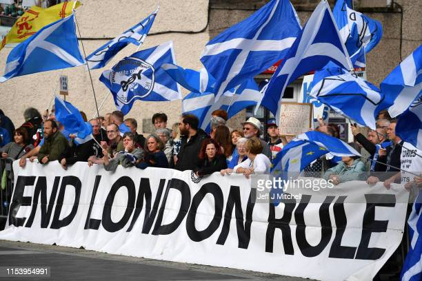 Pro-EU and Pro-Independence group protests ahead of the Scottish Hustings held by Jeremy Hunt and Boris Johnson on July 5, 2019 in Perth, Scotland....