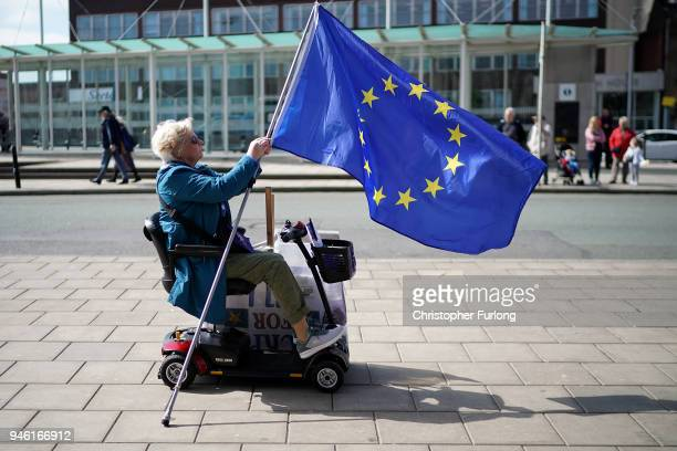 ProEU campaigners take part in a demonstration in Stockport town centre on April 14 2018 in Stockport England Activists and supporters from Open...