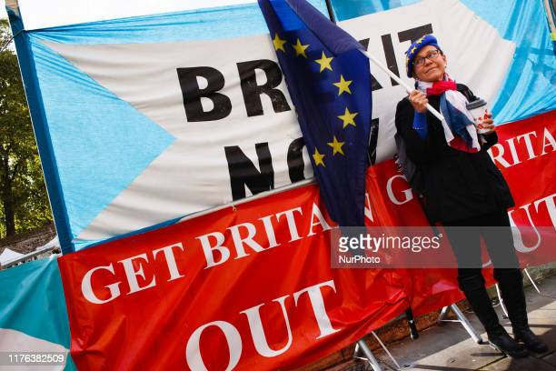 A proEU demonstrator stands in front of a banner for the Brexit Party on Abingdon Street outside the Houses of Parliament in London England on...