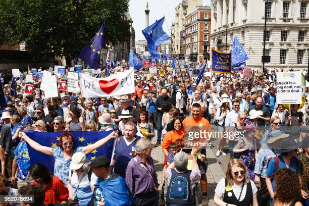 ProEU demonstrators in their tens of thousands flood Whitehall during the 'March for a People's Vote' in London England on June 23 2018 The march was...