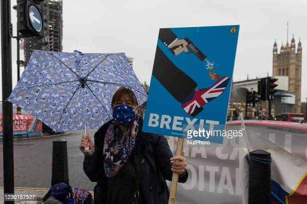 Pro-EU demonstrators protest outside Houses of Parliament against no-deal Brexit on 16 December, 2020 in London, England. The UK and EU leaders have...