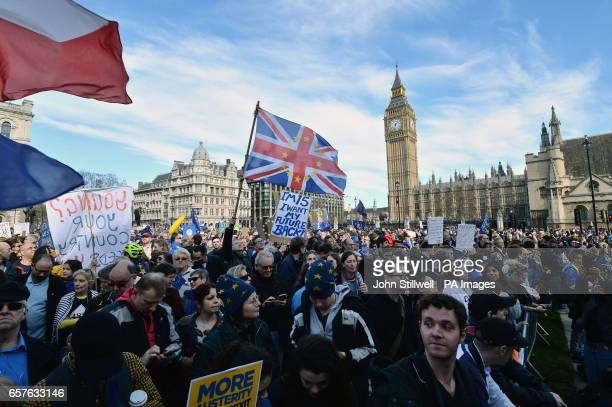 ProEU protesters gather in Parliament Square central London during a March for Europe rally against Brexit