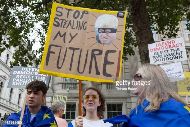 ProEU Remain protesters march to 'Stop the Coup' in Whitehall near Downing Street at the end of a week that saw Prime Minister Boris Johnson ask...