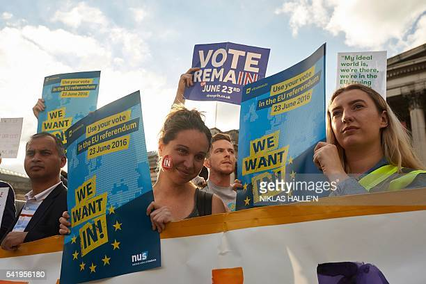 ProEU supporters hold placards and banners during a 'Yes to Europe' rally in London's Trafalgar square ahead of Thursday's EU referendum in central...