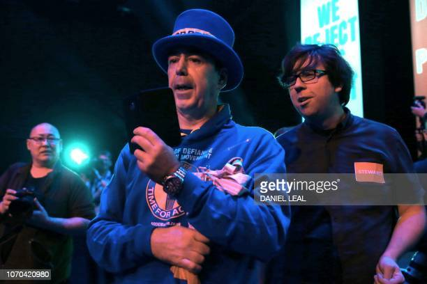 ProEurope protester Steve Bray makes an appearance at a rally for Best for Britain and People's Vote campaign in London on December 9 on the eve of...