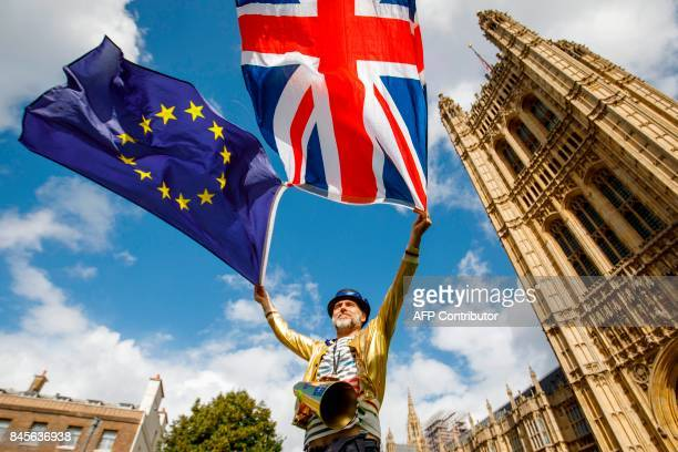 ProEuropean Union demonstrators protest outside the Houses of Parliament in central London against the first vote today on a bill to end Britain's...