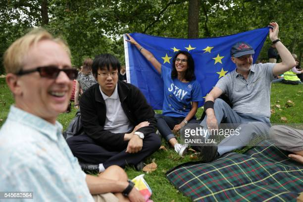 ProEuropean Union people hold up a European Union flag during a picnic against Brexit organised by the General Assembly in Green Park in London on...