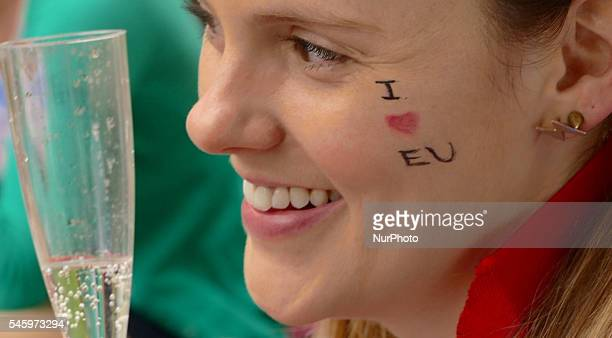 ProEuropean Union supporters and proBrexit supporters hold up placards during a demonstration against Brexit in Green Park in London on July 9 2016...