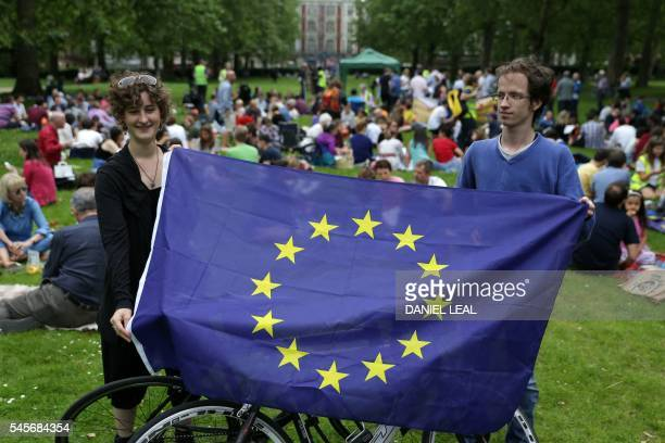 ProEuropean Union supporters hold up a European Union flag during a picnic against Brexit organised by the General Assembly in Green Park in London...