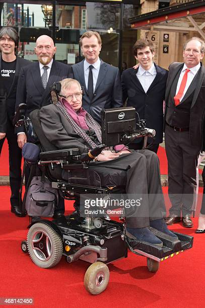 Prof Brian Cox Dr Kip Thorne Prof Stephen Hawking Christopher Nolan Jake Zimmer and Hans Zimmer attend at a special screening of Interstellar Live at...