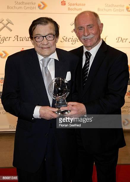 Prof Dr Klaus Steilmann and Werner Hansch attend the 'Steiger Awards 2009' at Jahrhunderthalle on March 28 2009 in Bochum Germany
