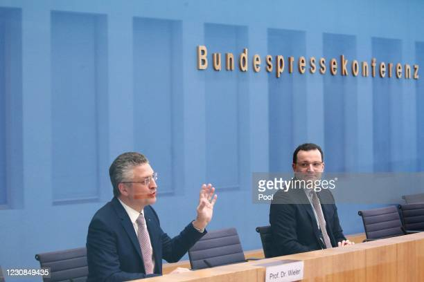 Prof. Dr. Lothar H. Wieler, President Robert Koch Institute and German Health Minister Jens Spahn speak to the media to give an update on the...