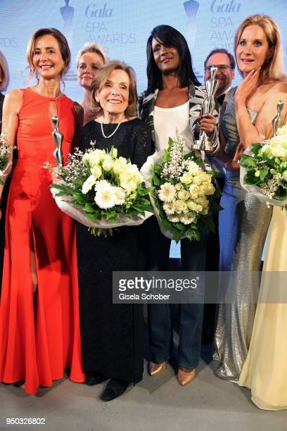 Prof. Dr. Martina Kerscher, Dr. Barbara Sturm, Sylvia Earle, Waris Dirie and Susanne Steinkraus speak on stage during the Gala Spa Awards at Brenners...