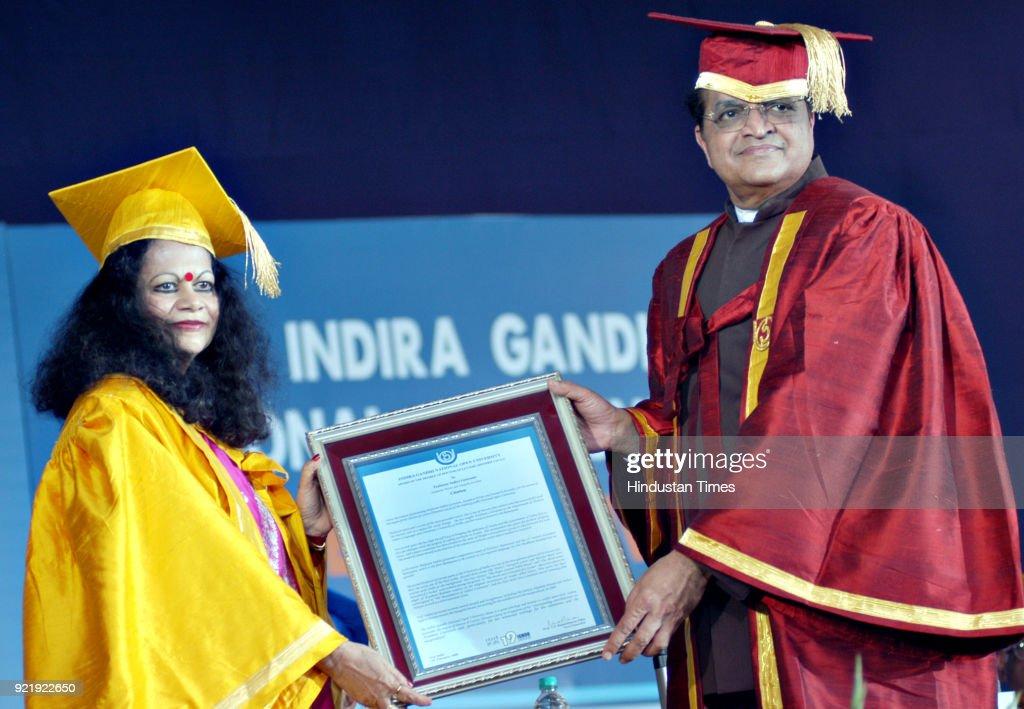 Prof. Indira Goswami recieving the honour from Prof. V.N. Rajshekharan Pillai at the 19th Convocation of Indira Gandhi Open University (IGNOU) at IGNOU Campus in New Delhi.