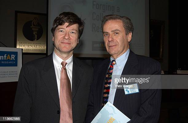 Prof Jeffrey D Sachs and Dr Allan Rosenfield during World AIDS Day Symposium Presented by amfAR and the Mailman School of Public Health at Columbia...