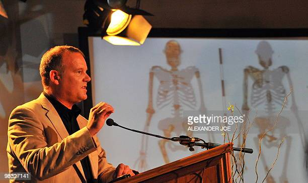 Prof Lee Berger of the University of the Witwatersrand speaks after unveiling the remains of an hominid may be one of the most significant...