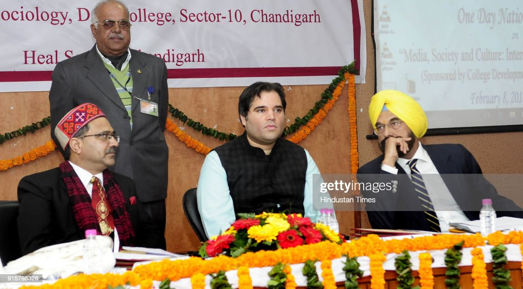Prof SP Bansal UP Sultanpur MP Varun Gandhi and Punjab AAP MP Kanwar Sandhu during a one day National Seminar on 'Media Society and Culture...
