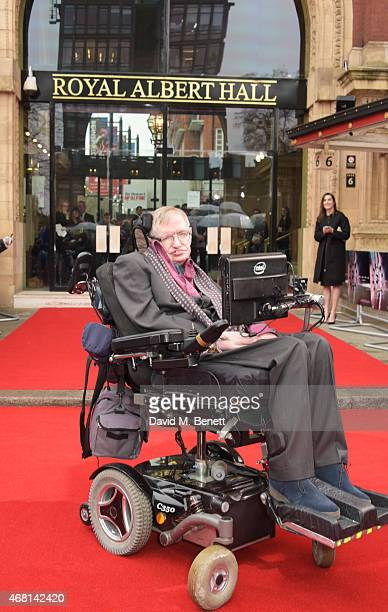 Prof Stephen Hawking attends at a special screening of 'Interstellar Live' at Royal Albert Hall on March 30 2015 in London England