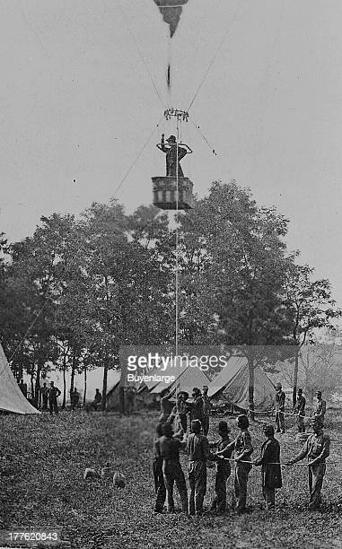 Prof Thaddeus S Lowe observing the battle of Fair Oaks from his balloon 'Intrepid' Fair Oaks Virginia 1862 Also known as the Battle of Seven Pines...