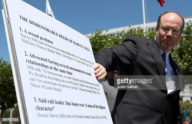 Profamily activist and president of Save California Randy Thomasson points to a list of accusations about the late gay rights activist Harvey Milk...