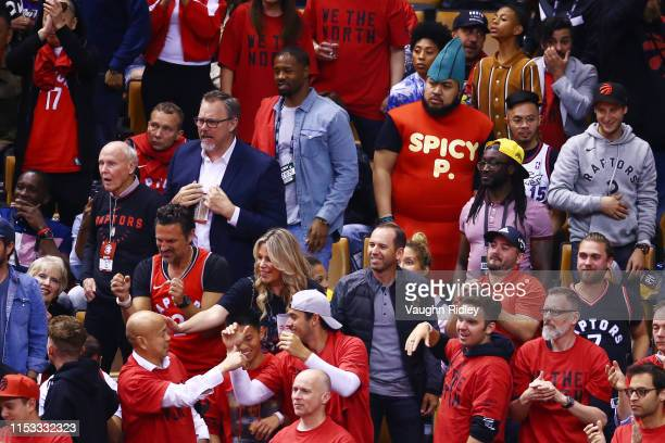 Profesional golfer Sergio Garcia reacts during Game Two of the 2019 NBA Finals between the Golden State Warriors and the Toronto Raptors at...