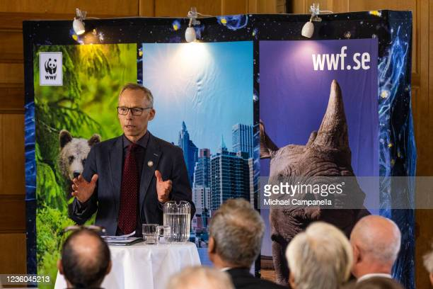 Profesor Johan Rockstrom gives a speech after receiving the 2022 Environmental Hero prize during the WWFs annual meeting at Ulriksdals Castle on...