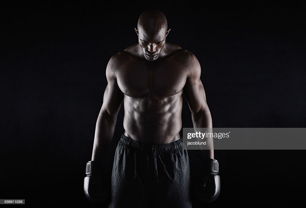 Professional african boxer : Stock Photo