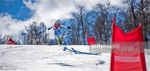 Professional Alpine Skier in Mid-Air