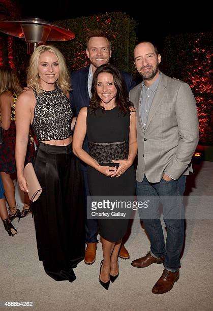 Professional alpine skier Lindsey Vonn and actors Joel McHale Julia LouisDreyfus and Tony Hale attend the Audi Celebrates Emmys Week 2015 at...