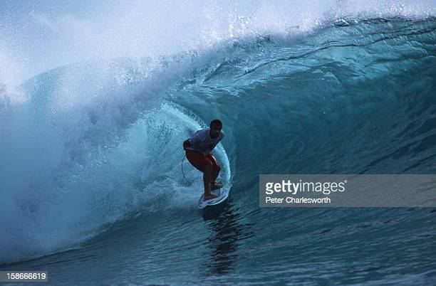 Professional American surfer Sean Hayes finds a perfect barrel wave to show off his skills 'The Mentawais are heaven's wave garden' he said as he set...