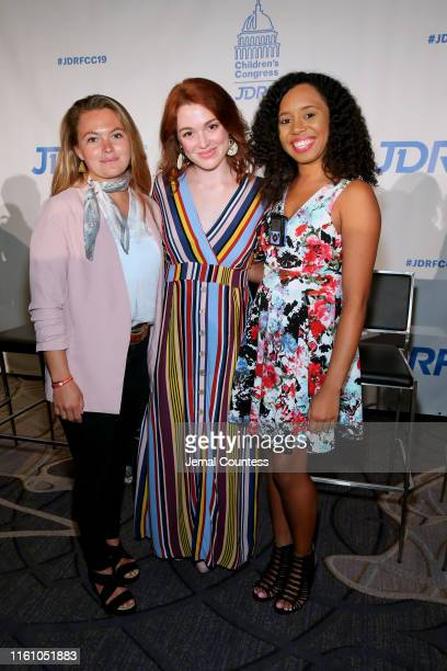 Professional Athlete Fiona Wylde and Actresses Jennifer Stone and Christina Martin attend the JDRF 2019 Children's Congress on July 09 2019 in...