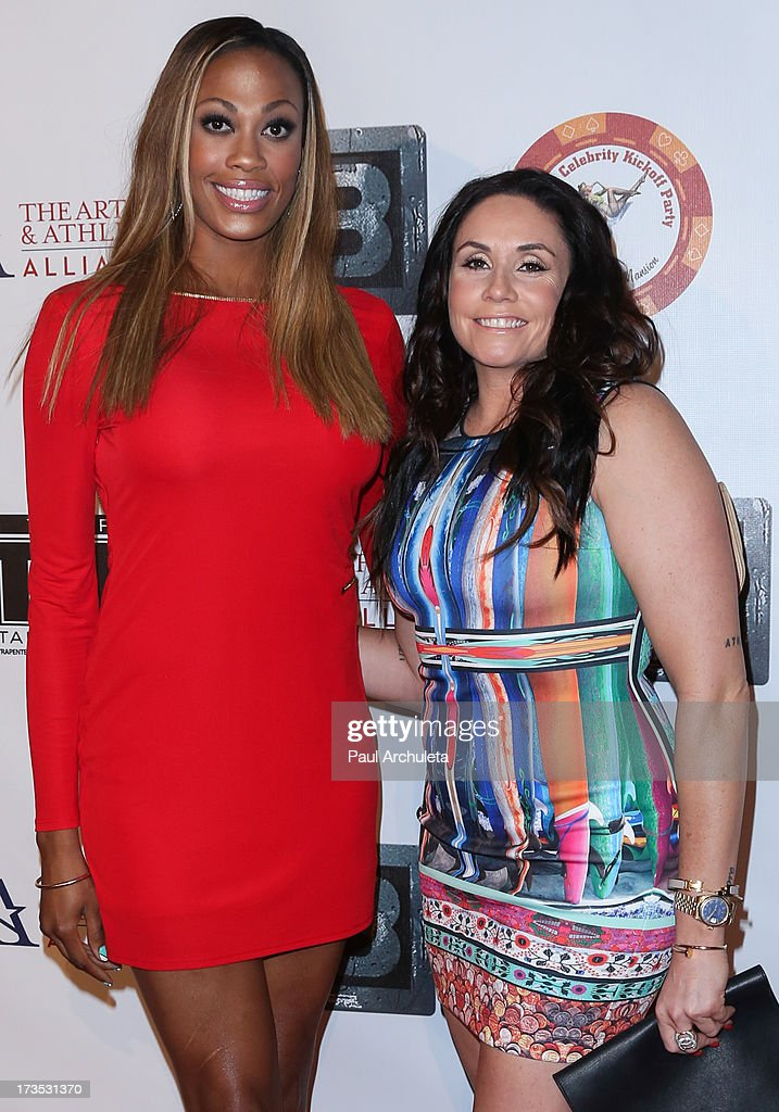 Professional Athletes Kim Glass (L) and Lindsey Berg (R) attend the 8th annual BTE All-Star Celebrity Kickoff Party at The Playboy Mansion on July 15, 2013 in Beverly Hills, California.