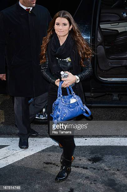 Professional auto racing driver Danica Patrick enters the 'Good Morning America' taping at the ABC Times Square Studios on April 25 2013 in New York...